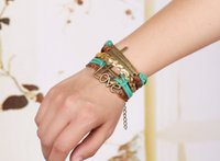 Wholesale Stainless Steel Women S Bracelets - 1Set 4pcs Braided Adjustable Leather popular Bracelet Cuff Women Men`s Casual Jewelry