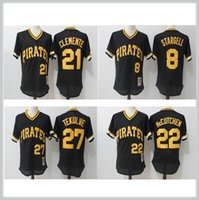 jersey andrew mccutchen achat en gros de-Pittsburgh Pirates Jerseys MLB Stitched 8 Willie Stargell 27 Kent Tekulve 21 Roberto Clemente 22 Andrew McCutchen Mesh maillots de baseball
