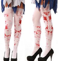 Wholesale Girls Masquerade Costume - Scary Costumes Masquerade Bloody Cosplay Tights Easter Party Socks Bloody Nurse Stockings for Halloween free shipping