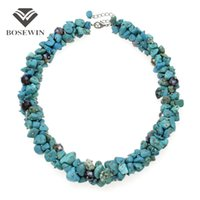 Wholesale Turquoise Stones China - Handmade Crystal Strand Turquoise Choker Necklace Women Bohemia Beach Irregular Stone Maxi Necklaces Statement Jewelry CE3122