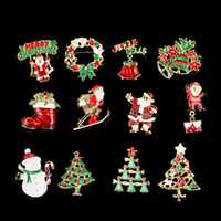 Wholesale Theme Pins Wholesale - Christmas Theme Brooch Pin Gift Beautiful Multi-colored Metal Christmas Brooch Pin Set Christmas Tree Brooches wa4174