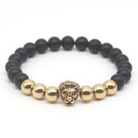 Wholesale Lion Gifts For Men - Wholesale-Wholesale Gold Plated Buddha Leo Lion Head Bracelet Black Matte Stone Beaded Bracelets For Men Women Pulseras Hombre N4-1
