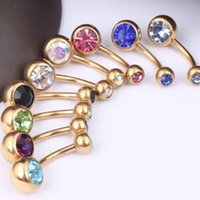 Wholesale Double Gem Belly Bar - Gold belly ring 2016 fashion women's double gem navel button barbell bar stainless steel body jewelry piercing 50pcs lot