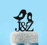 Wholesale Bird Wedding Cakes - custom glitter Nautical Wedding Cake Topper Love Birds Personalized bride and groom Initials Name