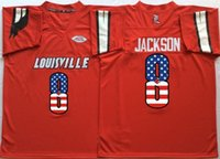 Louisville Cardinals Red # 8 Lamar Jackson Jersey Men's Flag версия Red the Jersey Дешевые оптовые Размер S-XXL
