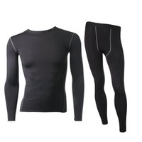 Wholesale Warm Thermal Underwear Set - Wholesale-Men's Thermal Fleece Underwear Set Outdoors Sport Compression Tight Top&Bottom Hot-Dry Technology Surface Warm Lined Long