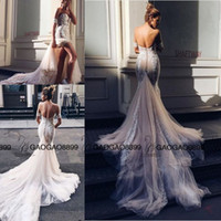 Wholesale Lovely Sexy Gowns - Pallas Couture Lovely Off-shoulder Split Mermaid Wedding Dresses 2017 Lace Applique Sweep Train Country Beach Cheap Wedding Dress Gowns