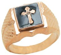 Wholesale Ring Cross Gold - Fashion ring High quality 18 KGP rose gold Classic cross designOnyxBrand man ring Free shipping 09299100420225