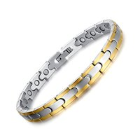 Wholesale Special Therapy - 2016 Special Offer Europ New Brand Mens Power Stainless Steel Magnetic Bracelet Certainty Therapy Golden Crosing Cuff Bangle Women Design