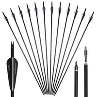 Wholesale arrow archery - 31'' Carbon Arrows Fiber for Recurve Compound Bow with Replaceable Point Tips Archery Outdoor Hunting Shooting Outdoor Sports Adults