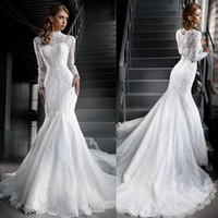 Wholesale Organza High Neck Wedding Jacket - Two Pieces Luxury Lace Wedding Dresses with Long Sleeves Jacket High Neck Mermaid Court Train Plus Size Custom Made Bridal Gowns 2017 New