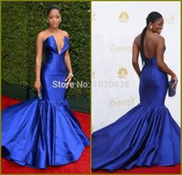 Keke Palmer Emmy Awards Sexy scollo a V in raso Royal Blue Red Carpet Celebrity Mermaid Evening Prom Gown Party dress vestido de festa