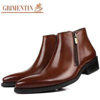 Wholesale Cowhide Top Boots - 2016 new classic style luxury formal men ankle boots zip style top grade cowhide leather boots man autumn boots size 38-45