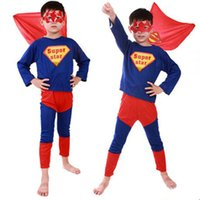 50 set DHL hot Costume Cosplay Spiderman Superman Costume di Halloween Abiti Kit Bambini BAMBINO manica lunga costume da supereroe cosplay set