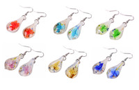Wholesale Murano Flower Chandelier - 12 Pairs Leaf Lampwork Murano Glass Flower inside 3D Silver Plated Earring fashion earrings mix colors Fashion Jewelry Woman Gift Party