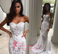Wholesale Heavy Bridal Satin Wedding Dress - Dramatic White Mermaid Wedding Dresses Heavy Embellishment Bridal Dress Full Lace Applique Backless Illusion Bodice Wedding Gowns 2017