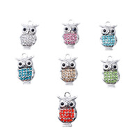 Wholesale Murano Glass Owl - Owl beads pendants Set crystal alloy bracelet pendant Murano Loose Glass pendants fit for Pandora European Charms Bracelet diy Jewelry