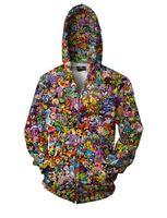 Wholesale 2xl Mens Casual Zip Jackets - Mens crewneck hoodies sweatshirt Pokem*n Go Ball Power Bank Toys Collage 3D Printed Zip Up Hoodie Hip hop Roll women party Casual Jacket