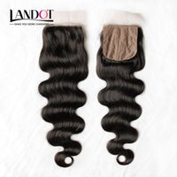 Wholesale Silk Lace Closures Natural Wave - Silk Base Closure Brazilian Malaysian Peruvian Indian Cambodian Virgin Human Hair Lace Closures Body Wave Free Middle 3 Part Hidden Knots