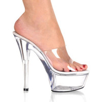 Wholesale Ladies High Quality Slippers - New Arrival High Quality Girl's Transparent Lady Slippers Women Platform Pumps Sexy Party Shoes Thin Heel Woman Shoes B002