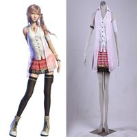 Wholesale Serah Costume - Halloween Anime Character Final Fantasy FF XIII 13 Serah FARRON Cosplay Costume Flull Suit Any Size