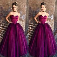 neues schatz ballkleid lila großhandel-2019 New Designed Purple Ballkleid Abendkleider Sweetheart Puffy Tüll Lange Abschlussball-Kleider Formal Kleider für besondere Anlässe Günstige Vestidos