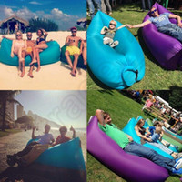 Wholesale Blue Beds - Fast Inflatable Sofa Air Sleeping Bags Beach Lounger Hangout Couch Portable Camping Hiking Beds Lazy Beach Outdoor Lay Chairs OOA450