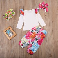 Wholesale Long Sleeve Ruffle Outfits - 2017 Ins Autumn Baby girl Outfits White Top Ruffles sleeve + Retro Floral Printed bloomers with Bow headband Three-piece set New arrival