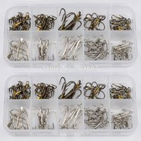 New 100Pcs / Box tackle de pesca Tamanho Misto 2/4/6/8/10 Gancho de pesca Alto Qulity Brown Color Jig Big Hook Treble Hooks