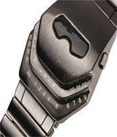 Wholesale Led Digital Binary Watch - Digital LED Watches Luxury Men's Black Stainless Steel Date Bracelet Sport Iron Snake Shadow Dun Waterproof Binary Alloy Quartz Mechanical