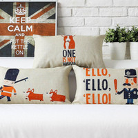 Wholesale Police Car Sales - 45cm 30x50cm Lovely Gift British Police and Dog Cotton Linen Fabric Waist Pillow 18inch Hot Sale New Home Decorative Sofa Car Back Cushion