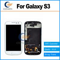 ingrosso samsung s3 lcd t999-Per Samsung Galaxy S3 I9300 I9305 T999 i535 I747 Lcd Digitizer Assembly Screen Assembly grigio o bianco con telaio trasporto veloce