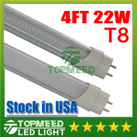 Wholesale T8 Fluorescent Tube Covers Frosted - Stock in USA UL 1.2m 4ft 22W Led T8 Tube Lights SMD2835 High Bright light 2400lm Frosted Transparent Cover 85-265V fluorescent lighting