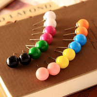 Wholesale Cute Stud Earrings Cheap - Fashion Cute Little Candy Color 8mm Imitation Pearl Stud Earrings Ball For Women Wedding Cheap Jewelry Accessories