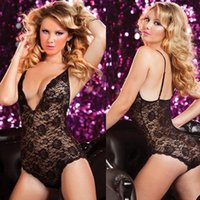 Wholesale Transparent Lace Dress Sex - Plus Size Lingerie Underwear Hot Sexy Costumes Black Lace Bodysuit Transparent Sex Dress Teddy Lingerie
