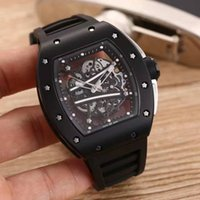Wholesale Blue Minerals - Top luxury brand men's watches new RM 61-01 natural rubber belt mineral tempered glass 43mm automatic mechanical classic fashion