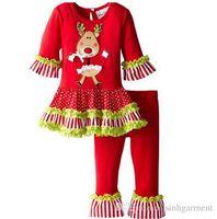 Wholesale Grils Sets - Brand Children Grils Christmas Pajamas Outfits Boys & Girls Autumn & Winter Long Sleeve Homwear Suits Cute Kids Xmas Sets