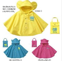Wholesale Cape Ears - Wholesale New style smally children raincoats with big ears ellow,rose red and blue Cape raincoat