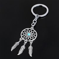 Wholesale Tibetan Silver Car - Dreamcatcher&Feather Jewelry Keychains Keyring Gift Tibetan Silver Dream Catcher Charm Key Chain Fashion Accessories free shipping