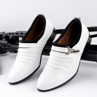 Wholesale Korean Shoes Open Toe - The Korean men pointed shoes shoes white leather shoes personality Casual Shoes White Shoes Mens Club