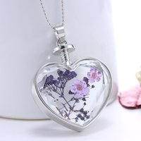 Wholesale Flower Necklace Design Free - New Design beautiful accessories purple flower Women Dry Flower Heart Glass Wishing Bottle Pendant Necklace free shipping O27