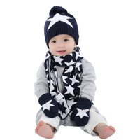 Wholesale Glove Scarf Gift Set - boys knitted hat scarf and glove set children new 2016 winter fashion kids boy navy blue star print 3 pieces sets christmas gift