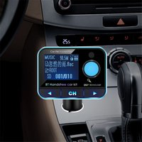 Wholesale Lcd Gps Navigation Bluetooth - Hot Wireless Bluetooth Car Kit FM Transmitter Handsfree AUX MP3 Player Dual USB Car Charger Battery Voltage Display LCD GPS Navigation