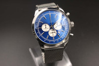 Wholesale Chronograph Steel Watch For Men - New Arrival Quartz-Watch For Men Blue Dial Analog Full Stainless Steel Band Digital Watch Montre Hommme