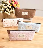 Wholesale cotton Mini Retro Flower Floral Lace Pencil Shape Pen Case Cosmetic Case Makeup Make Up Bag Zipper Pouch Purse