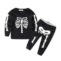 Wholesale Skeleton Clothing Kids - 2017 Halloween Costume Children Luminous Outfits Long Sleeve Autumn Kids suits Baby Girl Boy Clothes set Skull Skeleton Playsuit LX3941