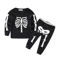 Wholesale Kids Skeleton Costumes - 2017 Halloween Costume Children Luminous Outfits Long Sleeve Autumn Kids suits Baby Girl Boy Clothes set Skull Skeleton Playsuit LX3941