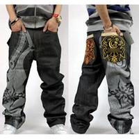 pantalon de danse homme achat en gros de-Gros-hip hop baggy jeans pour hommes pantalons de broderie mode denim jeans en vrac pantalons de danse hip-hop pantalon droit pleine longueur