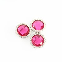 Wholesale October Party - Free shipping!! 6ps lot Pink Rhinestone snap button charms October Birthstone Snaps fit 12mm snap button jewelry SHU0054