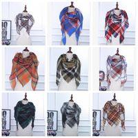Wholesale Woman Accessory Wholesalers - Plaid Scarves Tartan Scarf Striped Fashion Wraps Check Grid Neckerchief winter 35 color Scarves Wraps Accessories KKA2279